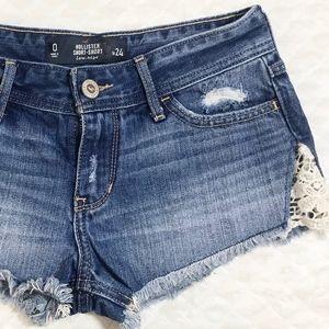 Hollister short Short Crochet Denim Jean Shorts 00